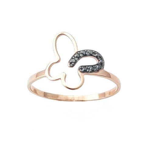 Δαχτυλίδι K14 Ροζ Χρυσό Πεταλουδίτσα Με Μαύρα Διαμαντια 0,036 ΔΟ10905