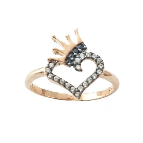 Δαχτυλίδι K9 Ροζ Χρυσό Καρδιά Κορώνα Με Λευκά Και Μαύρα Ζιργκόν ΔΟ10904