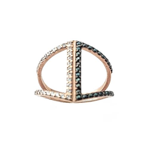 Δαχτυλίδι K14 Ροζ Χρυσό Με Μαύρα και Λευκά Ζιργκόν ΔΟ10906