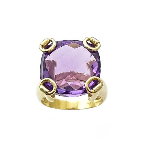Δαχτυλίδι K14 Χρυσό Με Μωβ Αμέθυστο Σχήματος Briolette ΔΟ10925