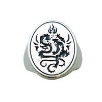 Δαχτυλίδι Ασημένιο Αντρικό Με Δράκο ΔΟ60005