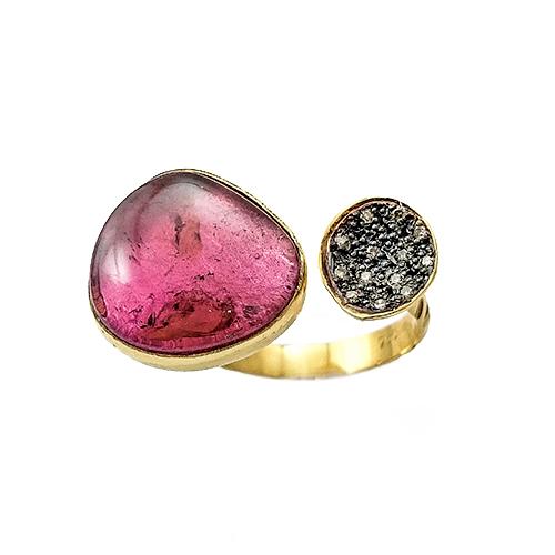 Δαχτυλίδι Χρυσό Κ18 Με Τουρμαλίνα Και Καφε Διαμάντια 0,08mm ΔΟ19902