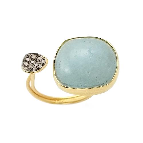Δαχτυλίδι Χρυσό Κ18 με Άκουα Μαρίν Και Καφέ Διαμάντια 0.07 ΔΟ19901