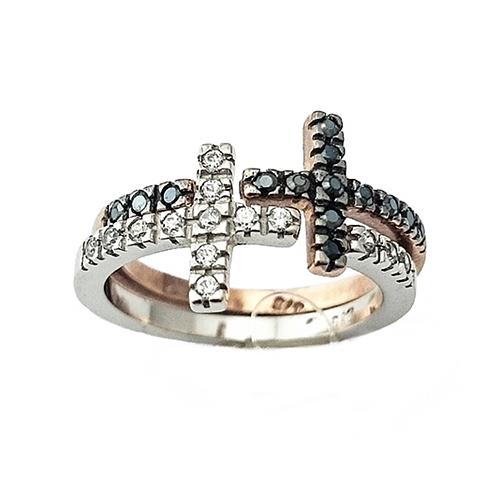 Δαχτυλίδι Ροζ Λευκόχρυσο K14 Σταυρός με Λευκά και Μαύρα Ζιργκόν ΔΟ10910