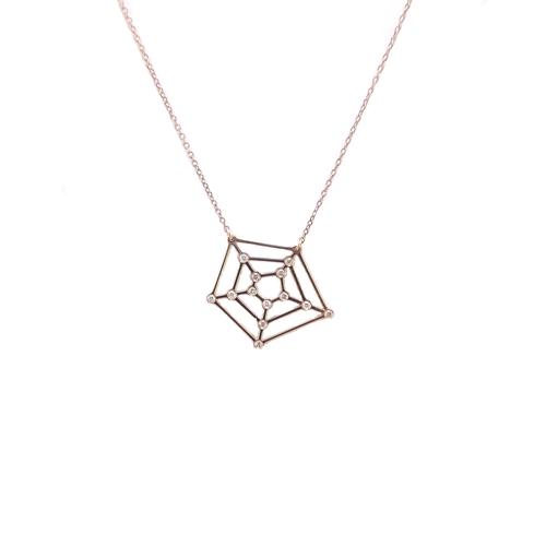 Κολιέ Ροζ Χρυσό Κ14 Ιστός με Διαμάντια 0.040ct ΚΟ10010