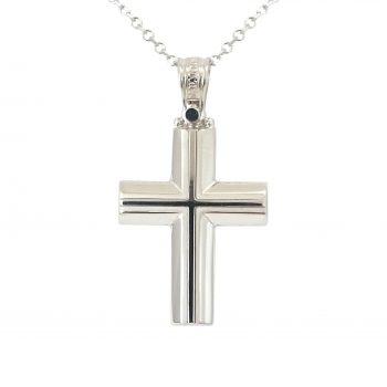 Σταυρός Βαπτιστικός Λευκόχρυσος K14 ΣΟ19014