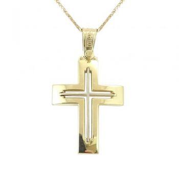 Σταυρός Βαπτιστικός Χρυσός Δίχρωμος K14 ΣΟ19008
