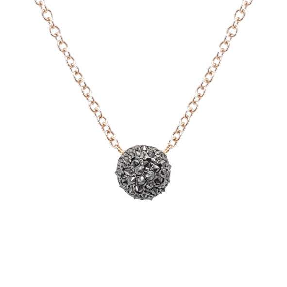 Κολιέ Κ18 Ροζ Mπιλια με Μαύρα Διαμάντια ΚΟ09060
