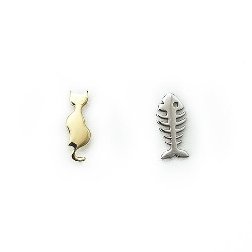 Σκουλαρίκια Δίχρωμα Κ14 Γατούλα Ψαροκόκαλο ΣΚ09502