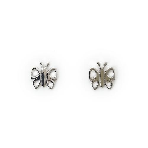 Σκουλαρίκια Λευκόχρυσο Κ14 Πεταλούδα με Ζιργκόν ΣΚ30009