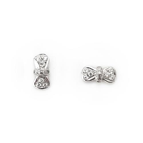 Σκουλαρίκια Λευκόχρυσο Κ14 Φιογκάκια ΣΚ30002