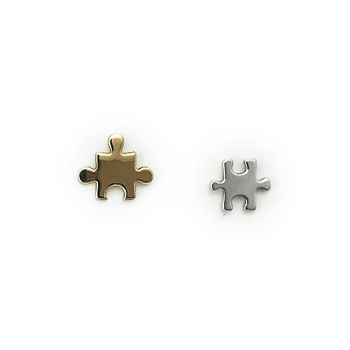 Σκουλαρίκια Λευκόχρυσο Χρυσό Κ14 Παζλ ΣΚ09504
