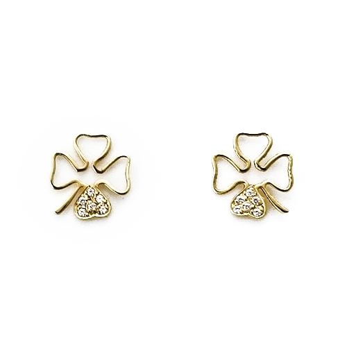 Σκουλαρίκια Χρυσά Κ14 Τετράφυλλα Με Ζιργκόν ΣΚ10022