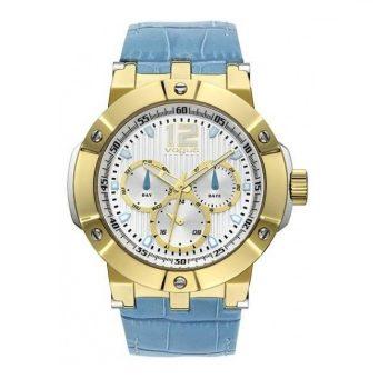 Vogue Elegance Gold Blue Leather Strap 16001.4