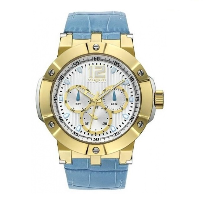 Vogue Elegance Gold Blue Leather Strap 16001.4