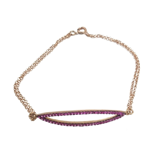 Βραχιόλι Ασημένιο Ροζ Με Ροζ Ζιργκόν ΒΟ21000