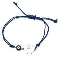 Βραχιόλι Λευκόχρυσο Κ14 Αγοράκι Με Μπλε Κορδόνι ΒΠ11005