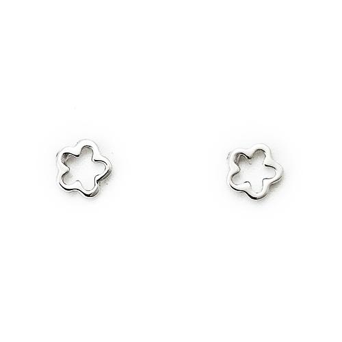Σκουλαρίκια Λευκόχρυσα Κ9 Λουλουδάκια ΣΚ30013