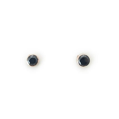 Σκουλαρίκια Ροζ Κ14 Με Μαύρα Ζιργκόν ΣΚ30044