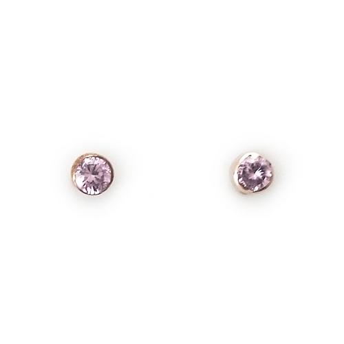 Σκουλαρίκια Ροζ Κ14 Με Ροζ Ζιργκόν ΣΚ30043