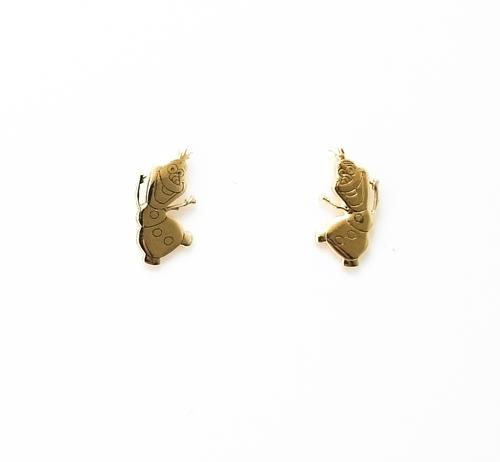 Σκουλαρίκια Χρυσά Κ14 Όλαφ Χιονάνθρωπος ΣΚ09506