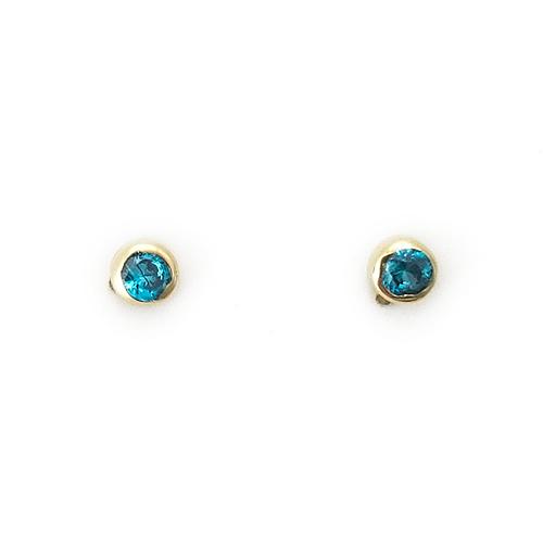 Σκουλαρίκια Χρυσά Κ14 Με Μπλε Ζιργκόν ΣΚ30042