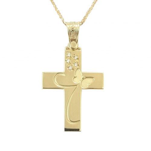 Σταυρός Βαπτιστικός Τριάντου Χρυσός Κ14 Με Ζιργκόν ΣΟ30127