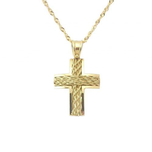 Σταυρός Βαφτιστικός Χρυσός Κ18 Πλεκτός ΣΟ30118