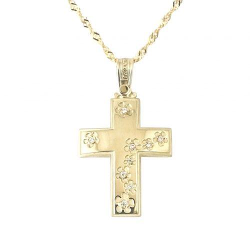 Σταυρός Τριάντος Μαργαρίτες Βαπτιστικός Χρυσός Κ14 Με Ζιργκόν ΣΟ30124
