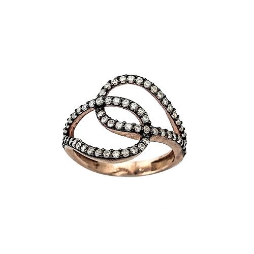 Δαχτυλίδι Ασημένιο Ροζ Επιχρυσωμένο Με Ζιργκόν ΔΟ20526