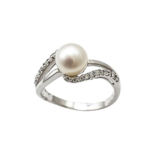 Δαχτυλίδι Λευκόχρυσο Κ14 Μαργαριτάρι Με Ζιργκόν ΔΟ10749