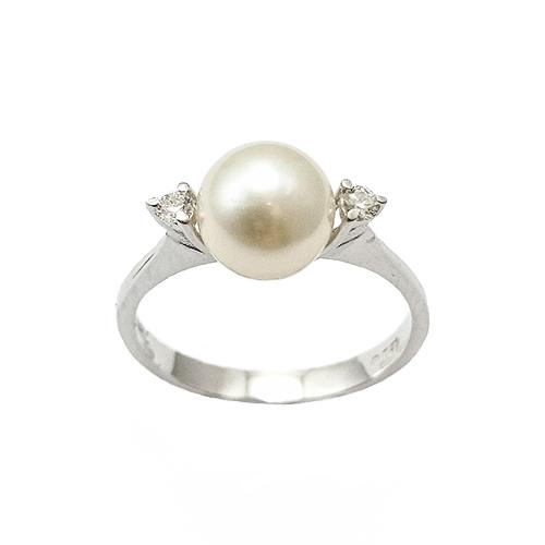 Δαχτυλίδι Λευκόχρυσο Κ18 Μαργαριτάρι Με Μπριγιάν 0.08ct ΔΟ10743