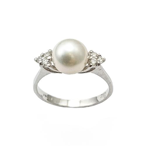 Δαχτυλίδι Λευκόχρυσο Κ18 Μαργαριτάρι Με Μπριγιάν 0.19ct ΔΟ10740