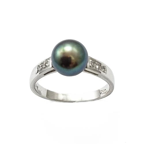 Δαχτυλίδι Λευκόχρυσο Κ18 Μαύρο Μαργαριτάρι Με Μπριγιάν 0,07ct ΔΟ10747