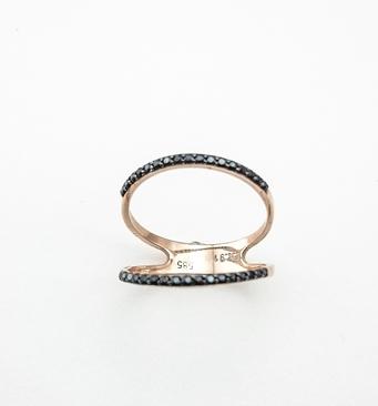Δαχτυλίδι Ροζ Χρυσό Κ14 Με Μαύρα Ζιργκόν ΔΟ10800