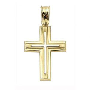 Σταυρός Βαπτιστικός Χρυσός Δίχρωμος K14 ΣΟ18525