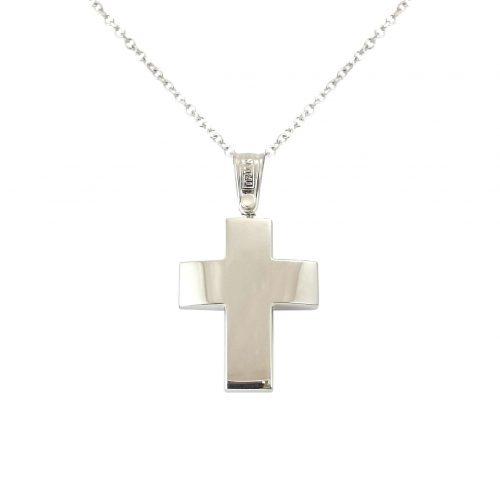 Σταυρός Τριάντος Βαπτιστικός Λευκόχρυσος K14 ΣΟ19040
