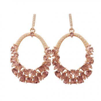 Σκουλαρίκια Ασημένια Ροζ Επιχρυσωμένα Με Ζιργκόν ΣΚ40960