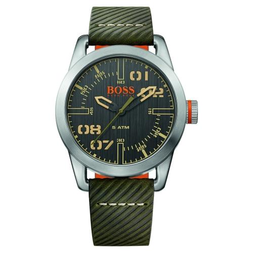 Hugo Boss Oslo Men's Green Leather Strap Watch 1513415