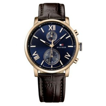 Tommy Hilfiger Men's Sophisticated Sport Brown Leather Strap Watch 1791308