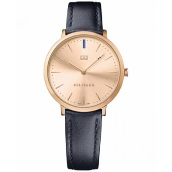 Tommy Hilfiger Ultra Slim Rose Dial Ladies Watch Blue Leather Strap 1781693