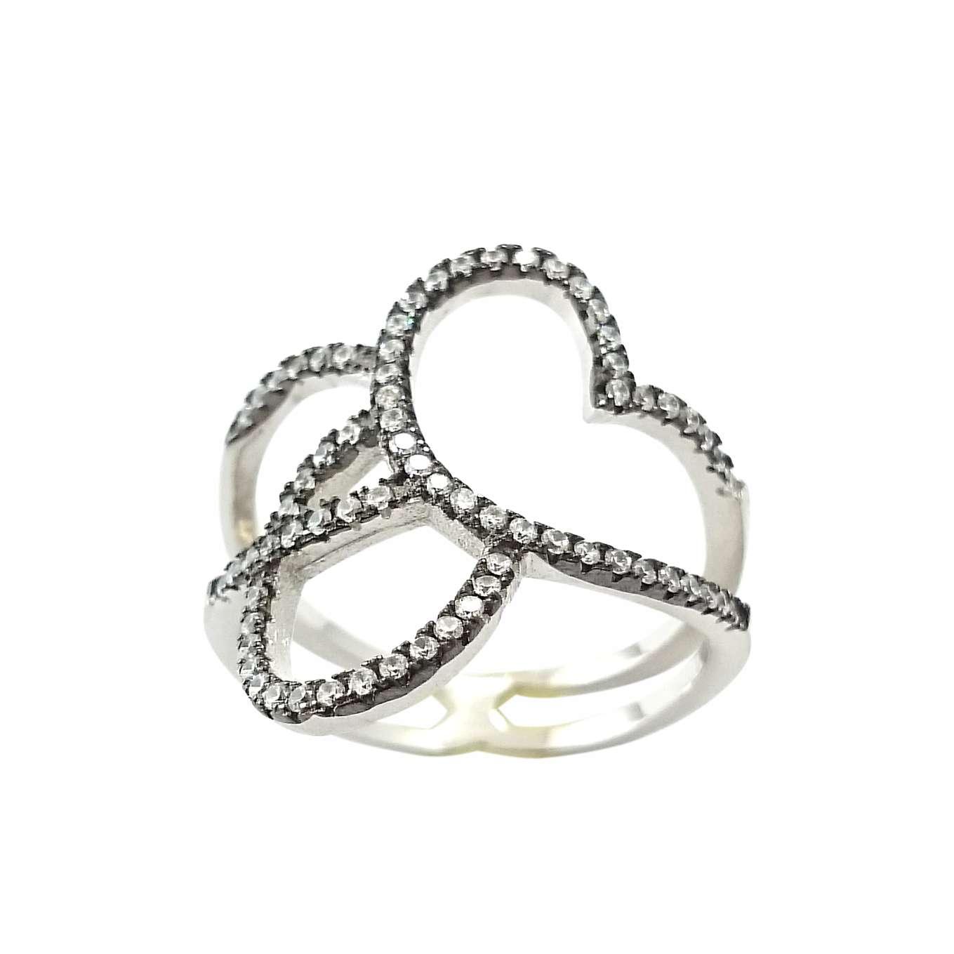Δαχτυλίδι Ασημένιο Επιπλατινωμένο Με Λευκά Ζιργκόν ΔΟ20514