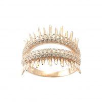 Δαχτυλίδι Ασημένιο Ροζ Επιχρυσωμένο Με Λευκά Ζιργκόν ΔΟ20524