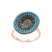 Δαχτυλίδι Ασημένιο Ροζ Επιχρυσωμένο Με Χρωματιστά Ζιργκόν ΔΟ20520