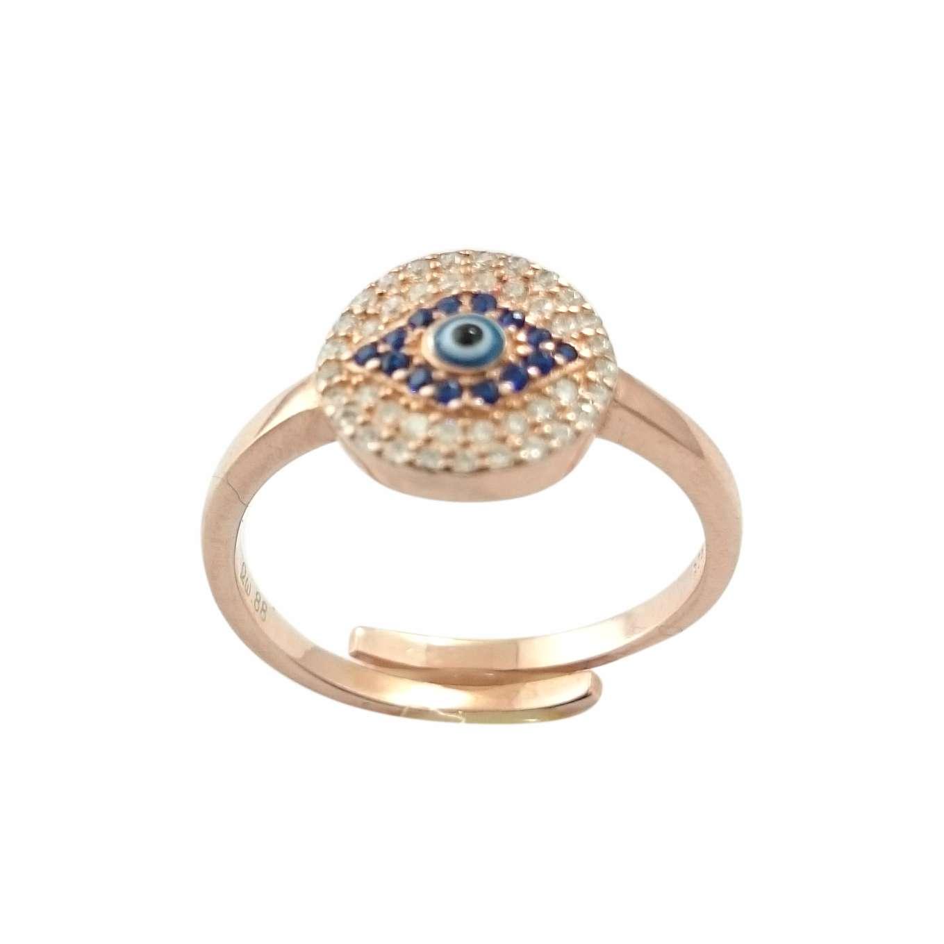 Δαχτυλίδι Μάτι Ασημένιο Ροζ Επιχρυσωμένο Με Λευκά Και Μπλε Ζιργκόν ΔΟ20522