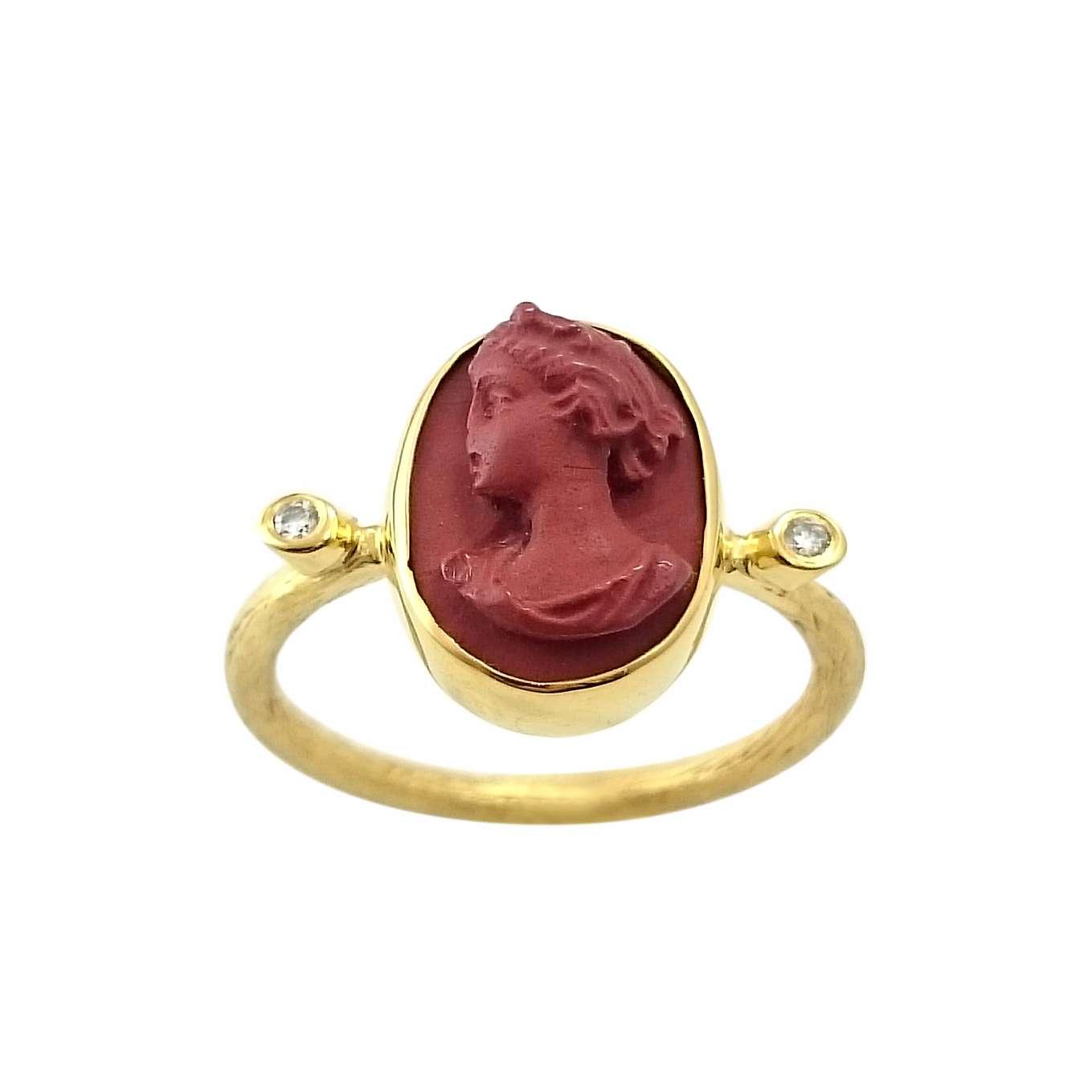 Δαχτυλίδι K14 Χρυσό Με Ιταλικό Καμέο Και Μπριγιάν 0.03ct ΔΟ10929