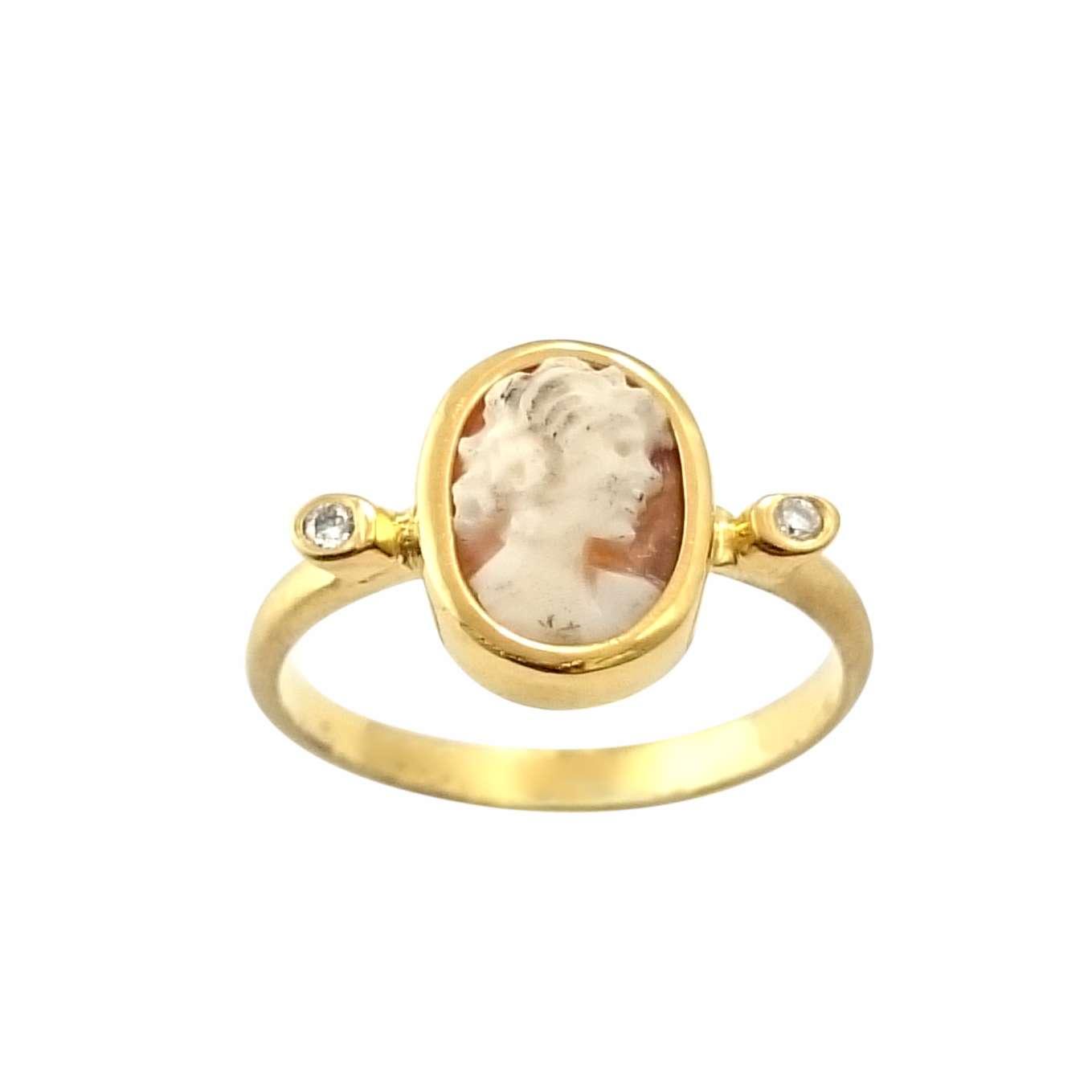 Δαχτυλίδι K14 Χρυσό Με Ιταλικό Καμέο Και Μπριγιάν 0.03ct ΔΟ10930