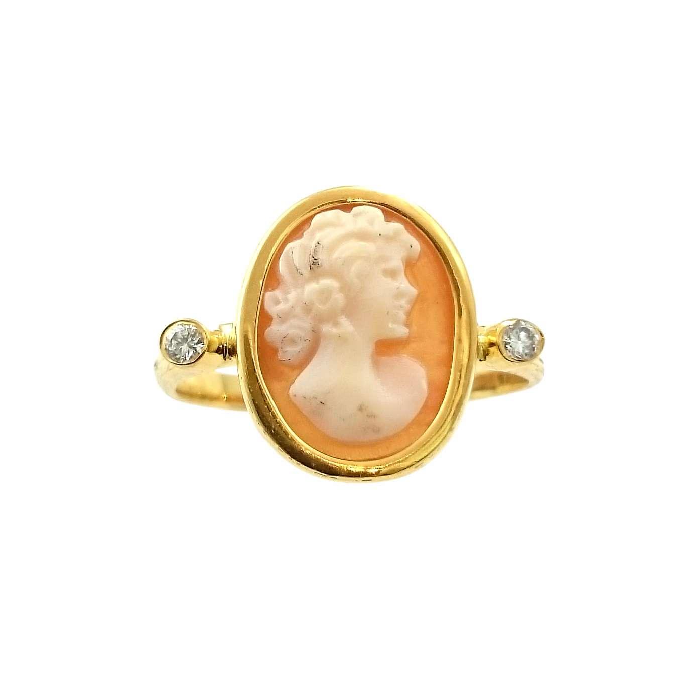 Δαχτυλίδι K14 Χρυσό Με Ιταλικό Καμέο Και Μπριγιάν 0.04ct ΔΟ10931
