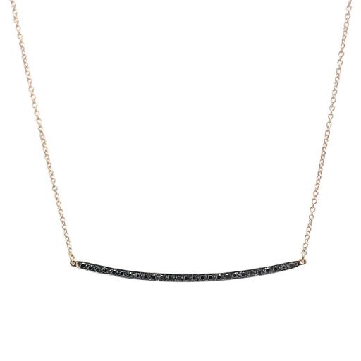 Κολιέ K14 Ροζ Χρυσό Μπάρα Μαύρα Διαμάντια 0,11ct ΚΟ09050