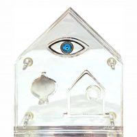 Γούρι Σπιτιού Γραφείου Ασημένιο Σπίτι Ρόδι Μάτι Σε Πλεξιγκλάς ΔΣ1165